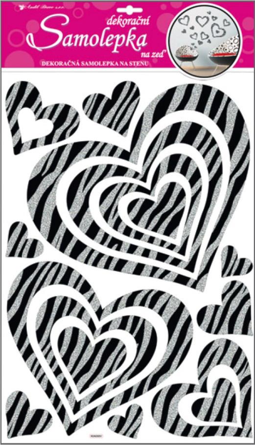 Samolepky na stěnu srdce se stříbrnými glitrovými pruhy 50x32cm (10007)