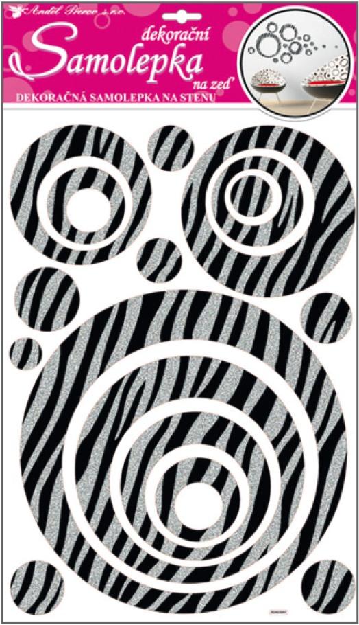 Samolepky na stěnu kruhy se stříbrnými glitrovými pruhy 50x32cm (10009)