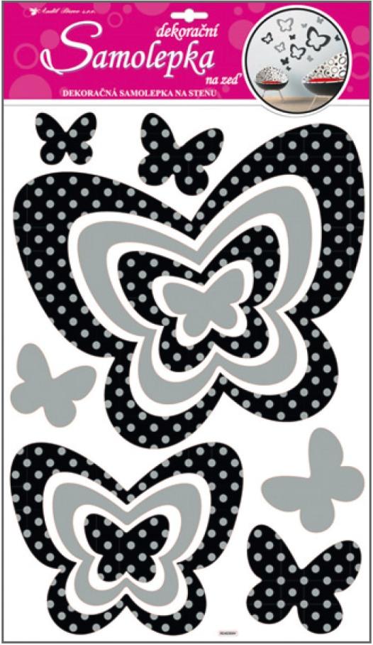 Samolepky na stěnu motýli se stříbrnými glitrovými puntíky 50x32cm