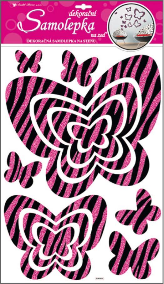 Samolepky na stěnu motýli s růžovými glitrovými pruhy 50x32cm