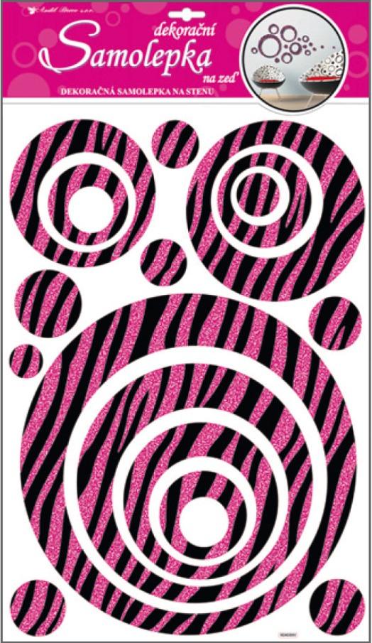 Samolepky na stěnu kruhy s růžovými glitrovými pruhy 50x32cm