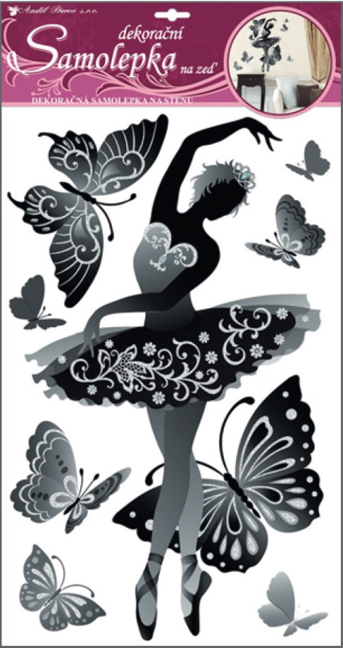 Samolepky na stěnu baletka černá s glitry a kamínky 50x32cm