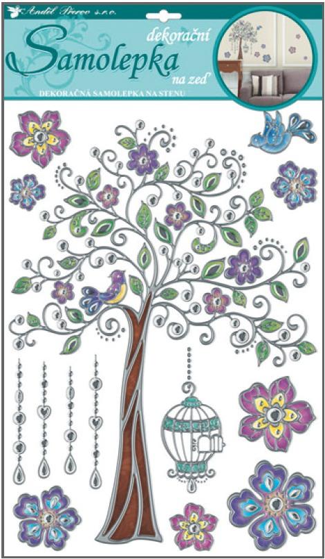 Samolepky na stěnu barevný strom ze stříbrnou konturou 41x29cm