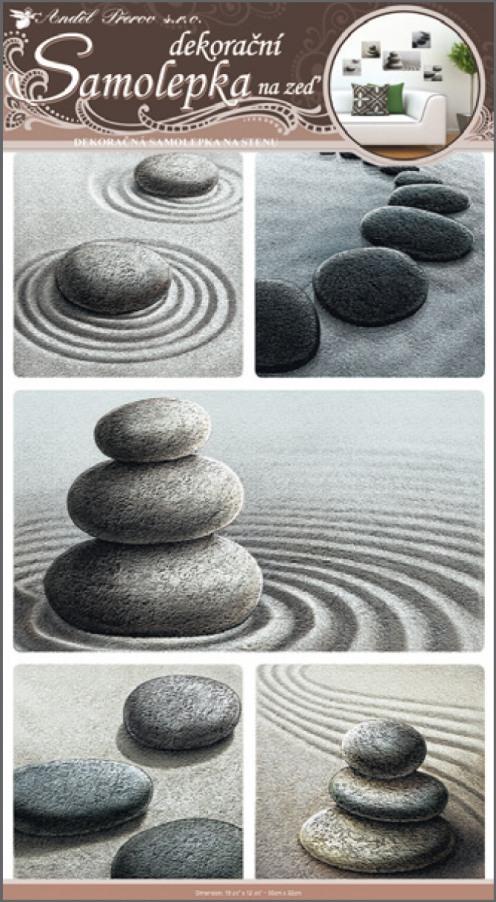 Samolepky na stěnu kameny v písku 50x32cm