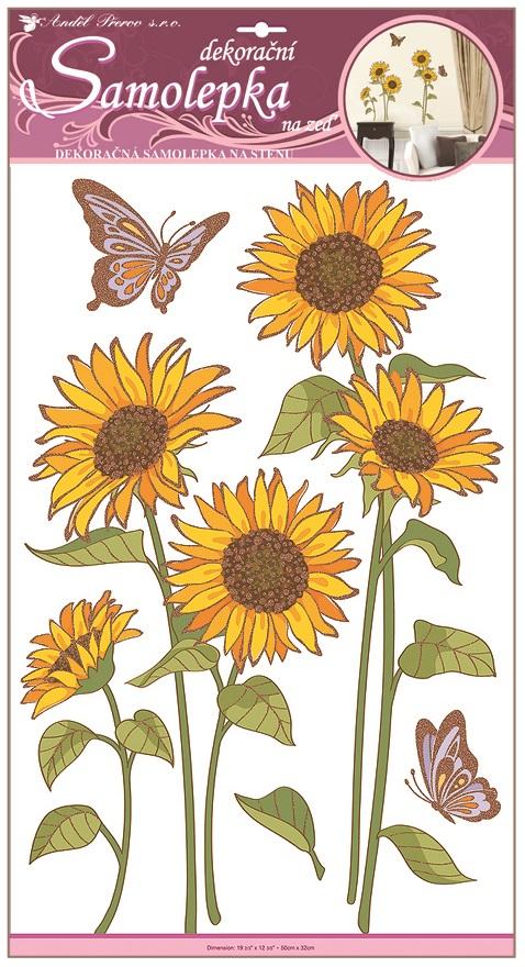 Samolepky na stěnu slunečnice s motýly a glitry 50x32cm