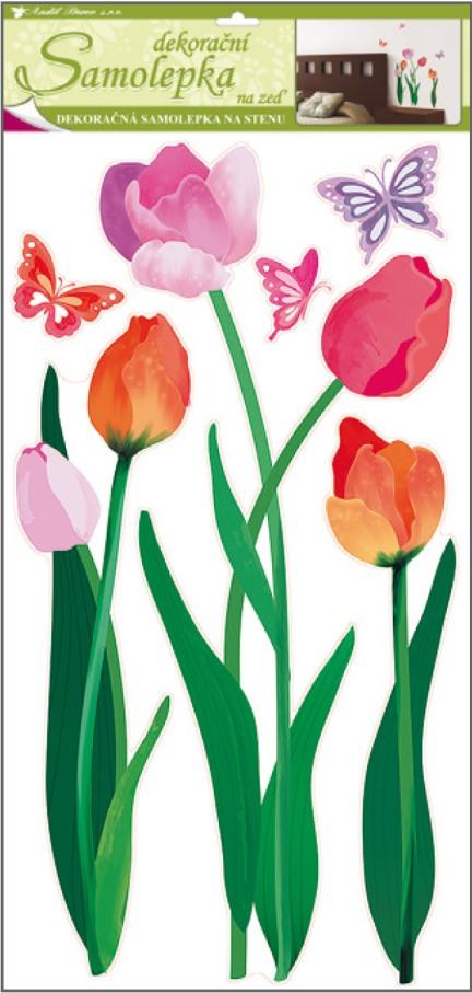 Samolepky na stěnu barevné tulipány 60x32cm