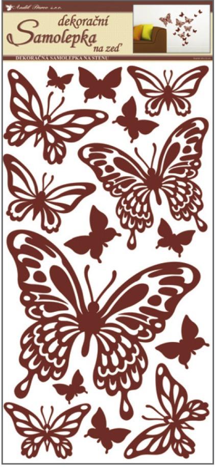 Samolepky na stěnu motýli hnědí 60x32cm