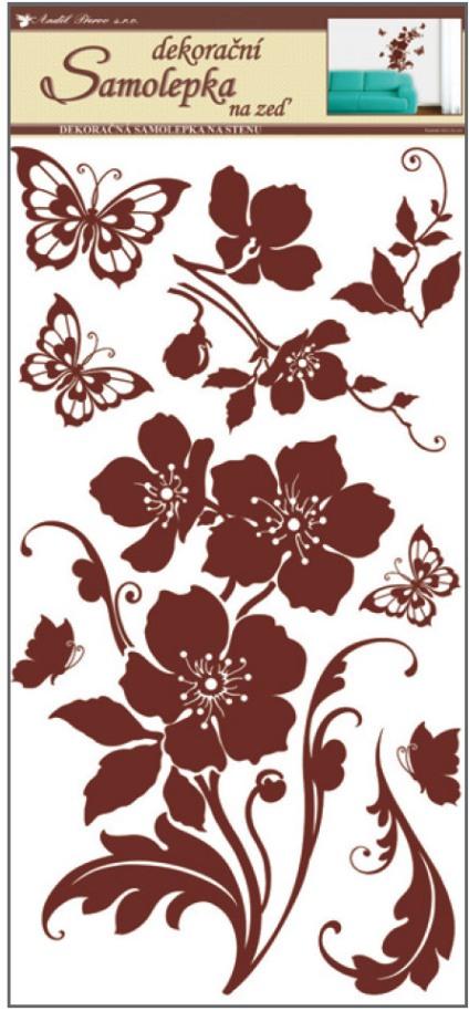 Samolepky na stěnu květiny s motýly hnědí 60x32cm (10038)