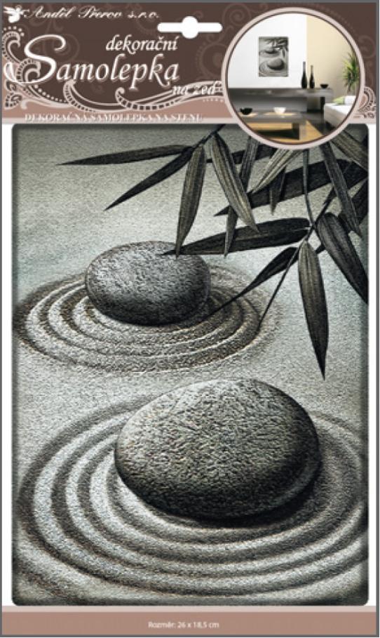 Samolepky na stěnu 3D dva plastické kameny 31x18,5cm (10040)