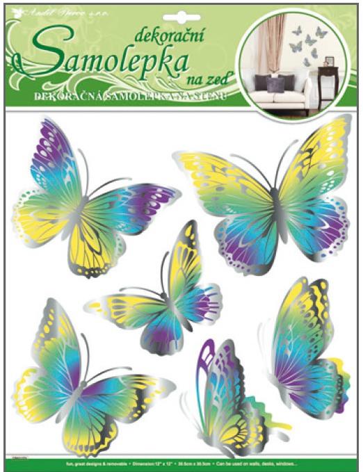 Samolepky na stěnu motýli žlutomodří s pohyblivými stříbrnými křídly 30,5x30,5cm