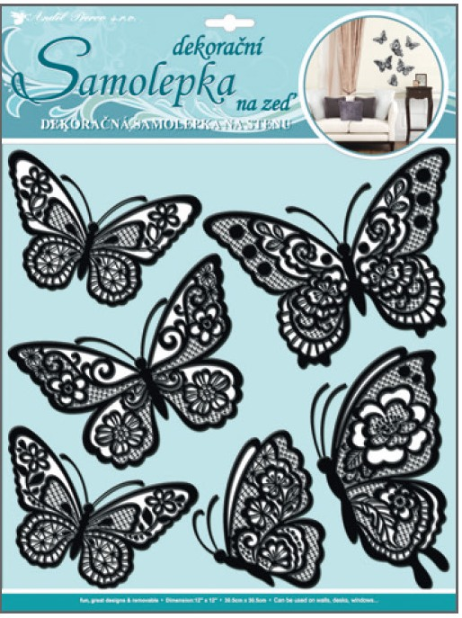 Samolepky na stěnu motýli s pohyblivými krajkovými černými křídly 30,5x30,5cm