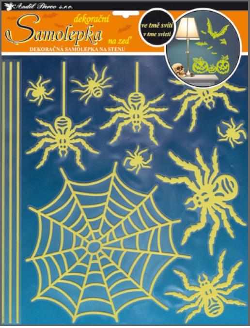 Samolepky na stěnu pavouci svítící ve tmě, 32x31cm (10047)