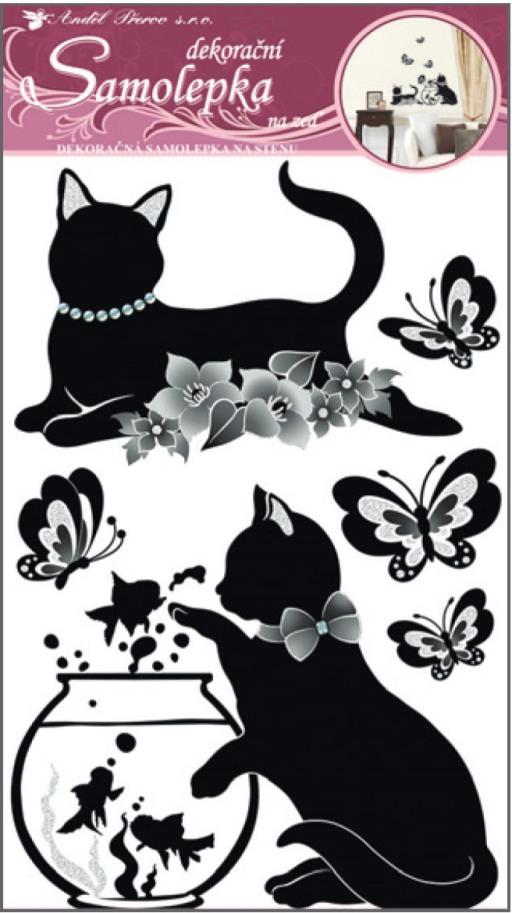 Samolepka na stěnu kočky s akváriem s glitry a kamínky 50x32cm (10063)