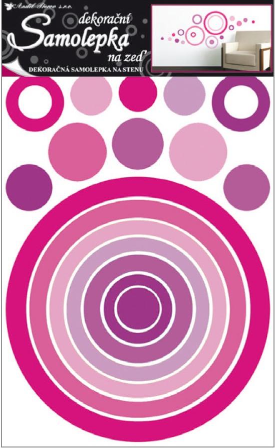Samolepka na stěnu kruh růžový 60x42cm
