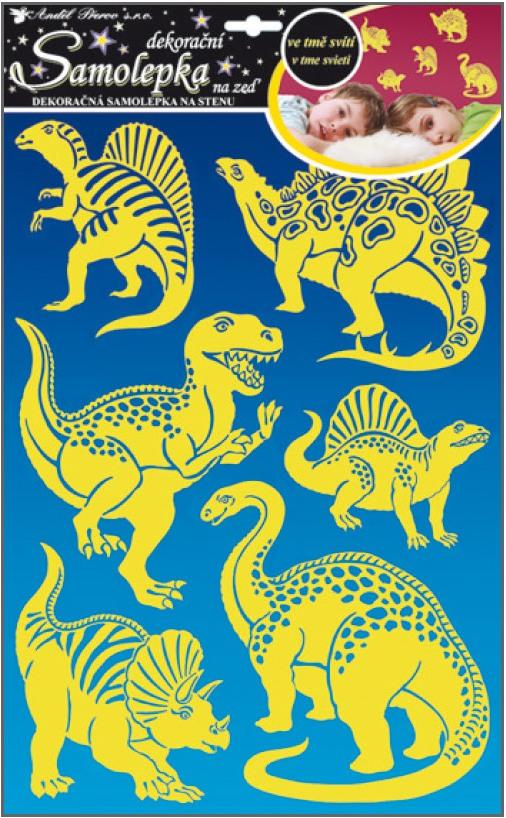 Samolepka na stěnu dinosauři svítící ve tmě 41x29cm (10067)