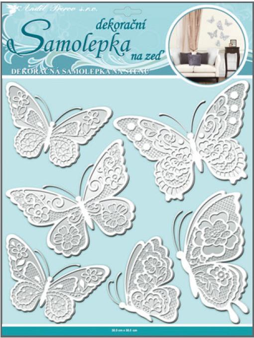 Samolepka na stěnu motýli s bílými krajkovými křídly 30,5x30,5cm (10068)