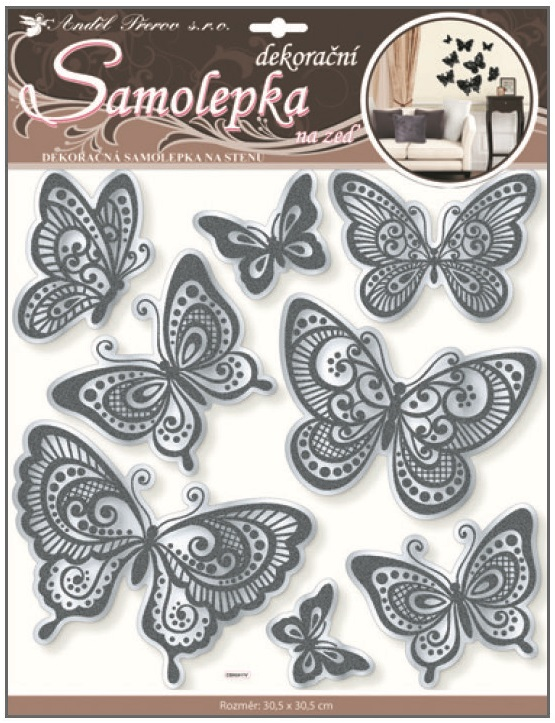 Samolepky na stěnu motýli se zrcadlovým efektem a černou glitrovou konturou 30,5x30,5cm