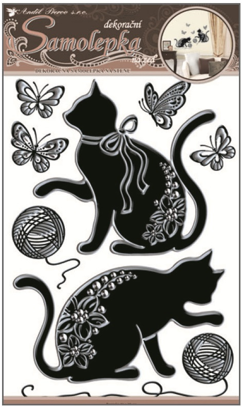 Samolepky na stěnu kočky se stříbrnou konturou a kamínky 41x29cm