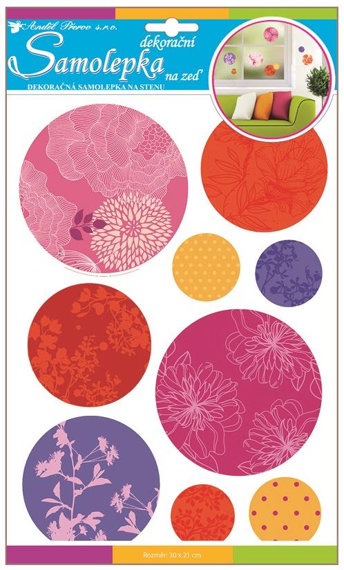 Samolepky na stěnu barevné vzorované kruhy s glitry 30x22cm