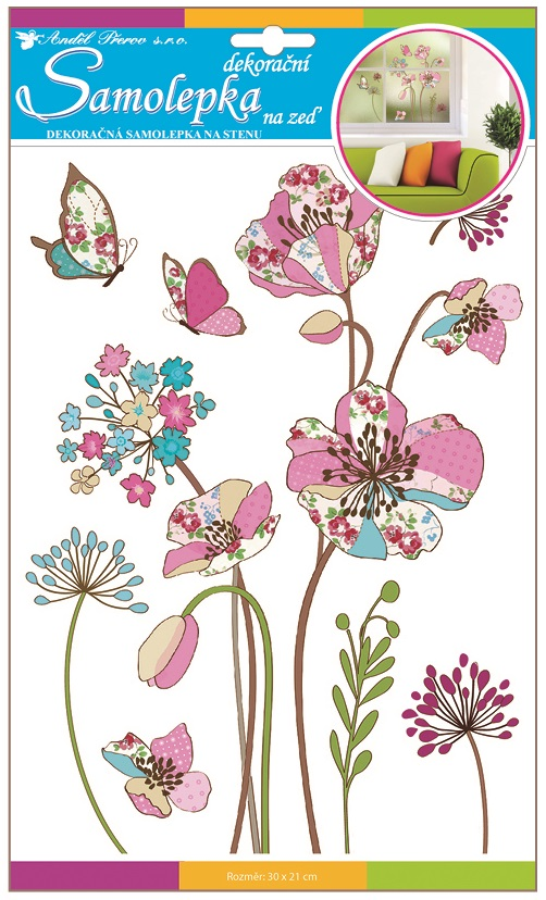Samolepky na stěnu barevné vzorované květy s glitry 30x21cm