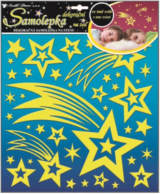 Samolepky na stěnu kometa a hvězdičky s glitry svítící ve tmě 31x31cm