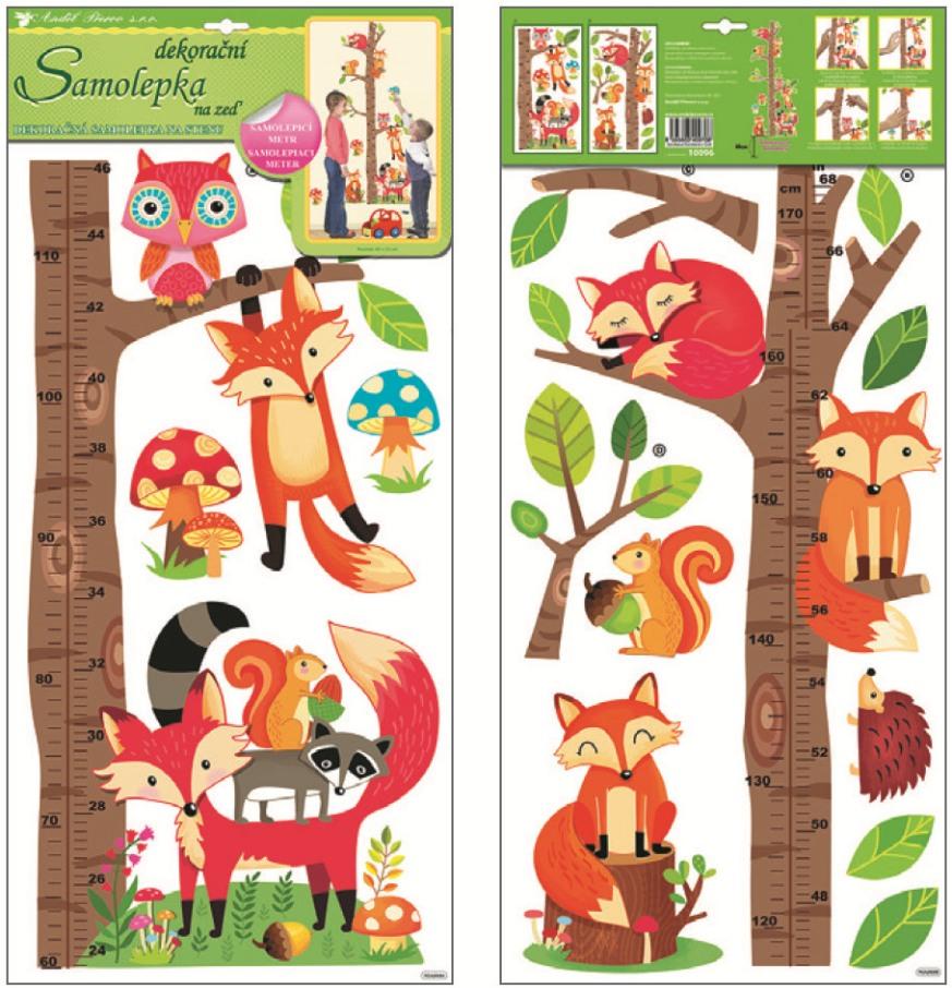 Samolepky na stěnu dětský metr strom s lesními zvířátky 120x32cm