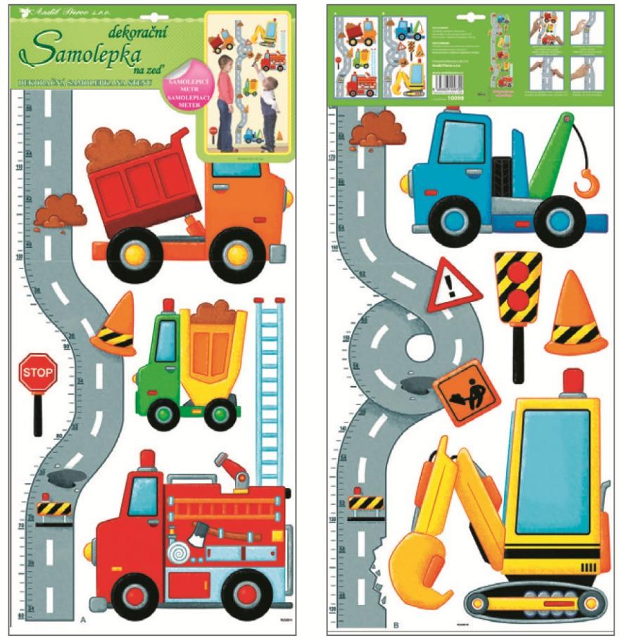 Samolepky na stěnu dětský metr silnice s auty 120x32cm (10098)