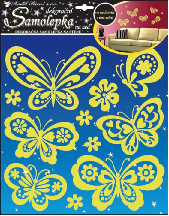 Samolepky na stěnu svítící ve tmě motýli 32x31cm (10109)
