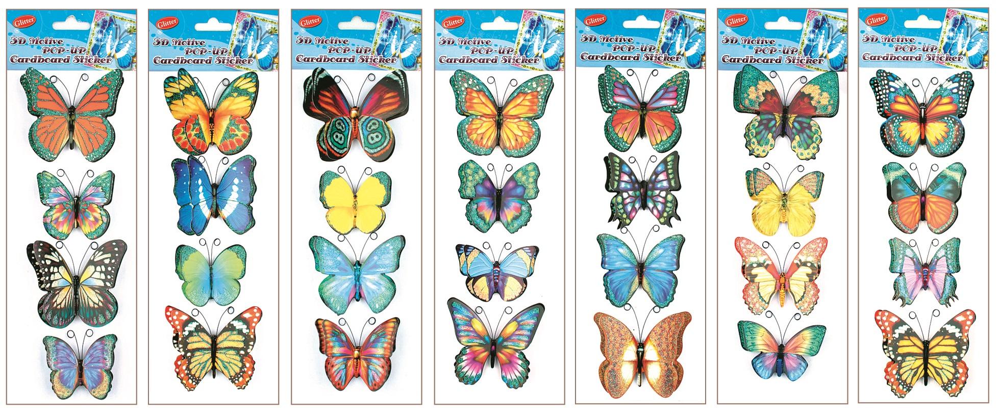 Samolepky na stěnu motýli s křídly a glitry, 4ks 29x12cm (1012)