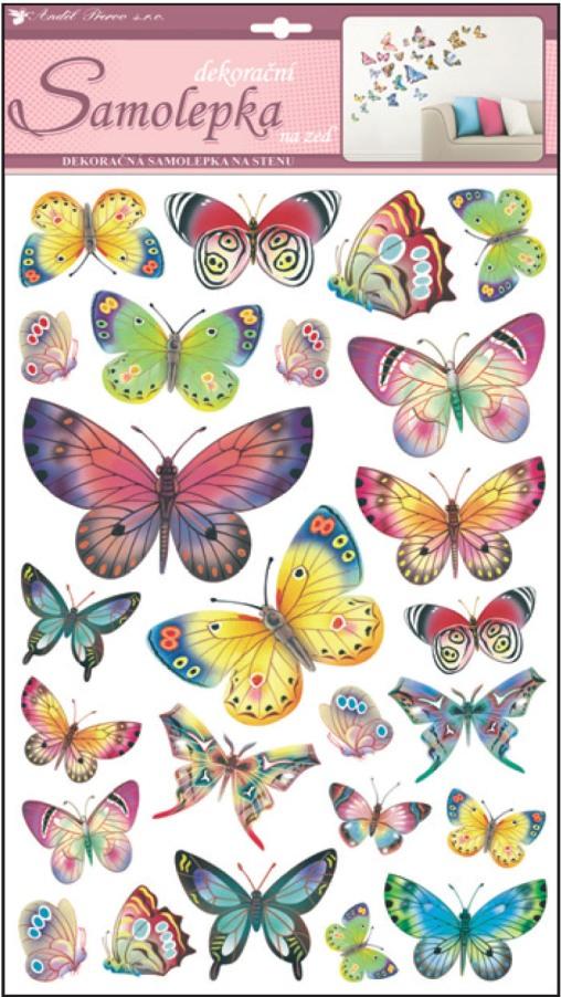 Samolepky na stěnu barevní motýli 48x29cm (10141)