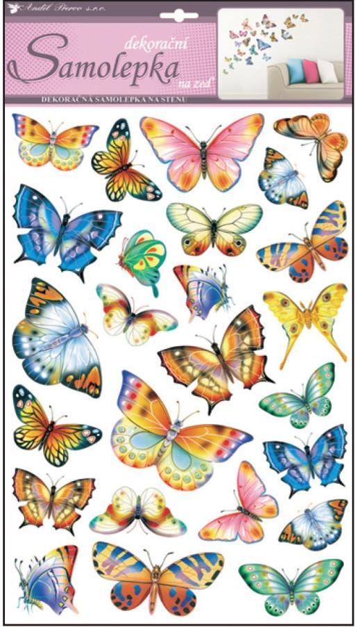 Samolepky na stěnu barevní motýli 48x29cm (10142)