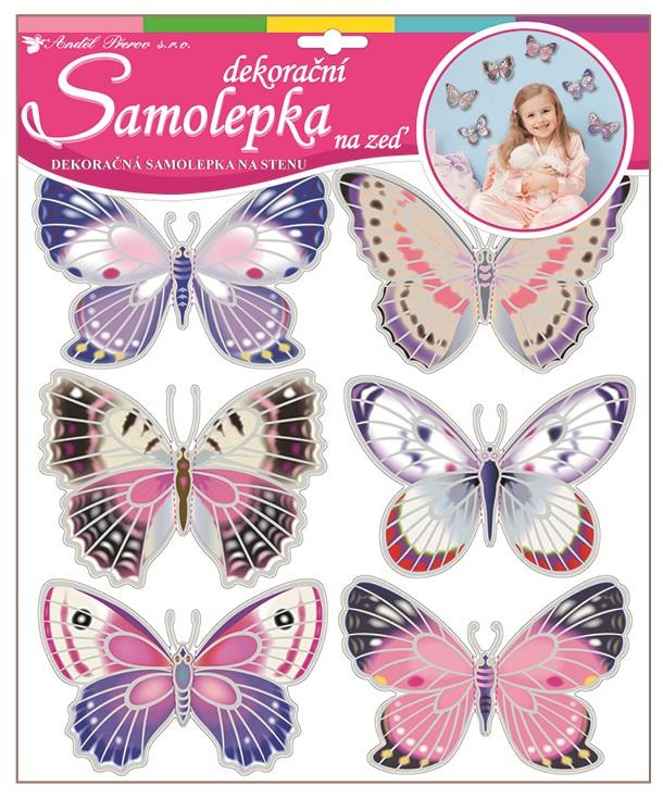 Samolepky na stěnu hologramoví motýlci 30,5x30,5cm