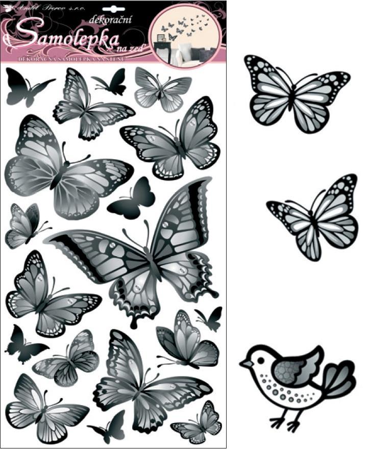 Samolepky na stěnu černošedí motýli 60x32cm (10146)