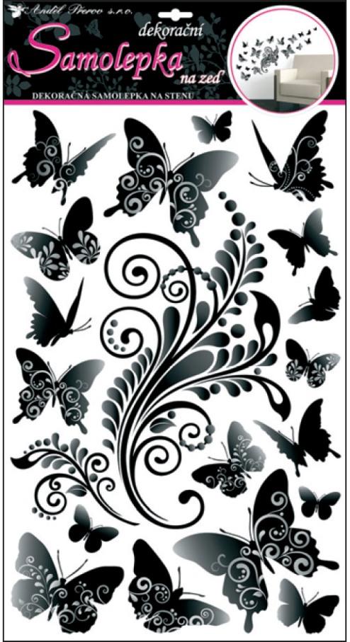 Samolepky na stěnu černošedí motýlci 50x32cm (10147)