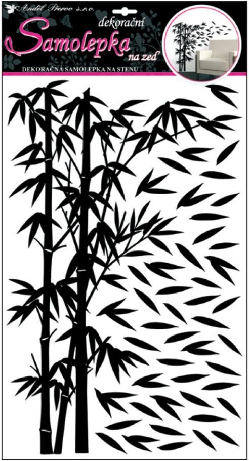 Samolepky na stěnu bambus černý s lístky 50x32cm