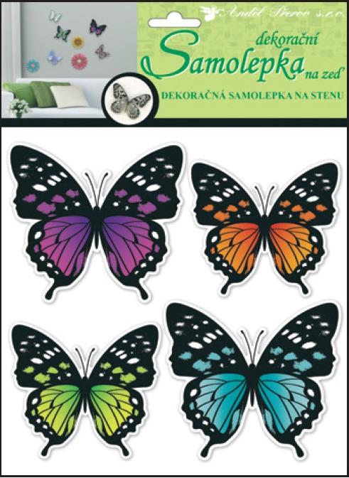 Samolepky na stěnu 3D neonoví motýli 20x20x1cm, 4ks