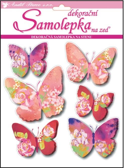 Samolepky na stěnu 3D motýli s květinovým dekorem 20x20x1cm, 6ks