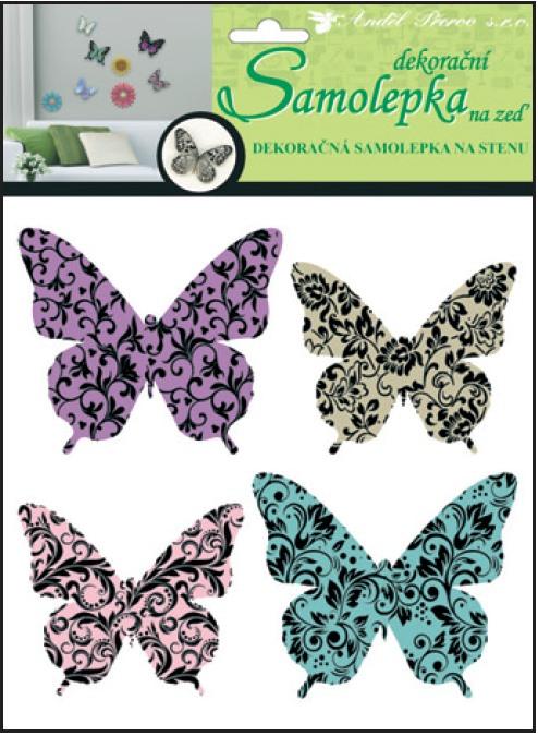 Samolepky na stěnu 3D motýli s ornamenty 20x20x1cm, 4ks