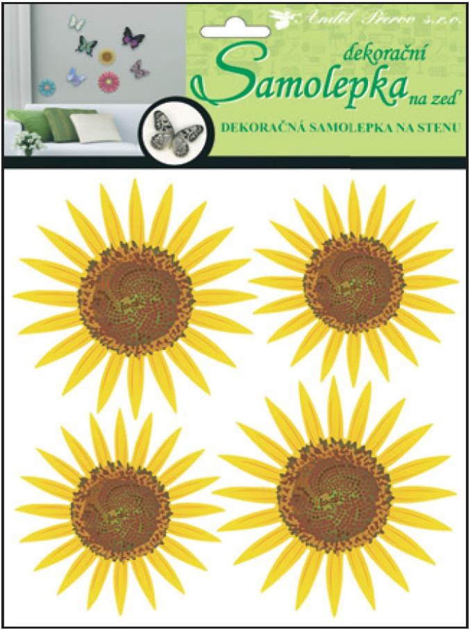 Samolepky na stěnu 3D slunečnice 20x20x1cm, 4ks (10155)