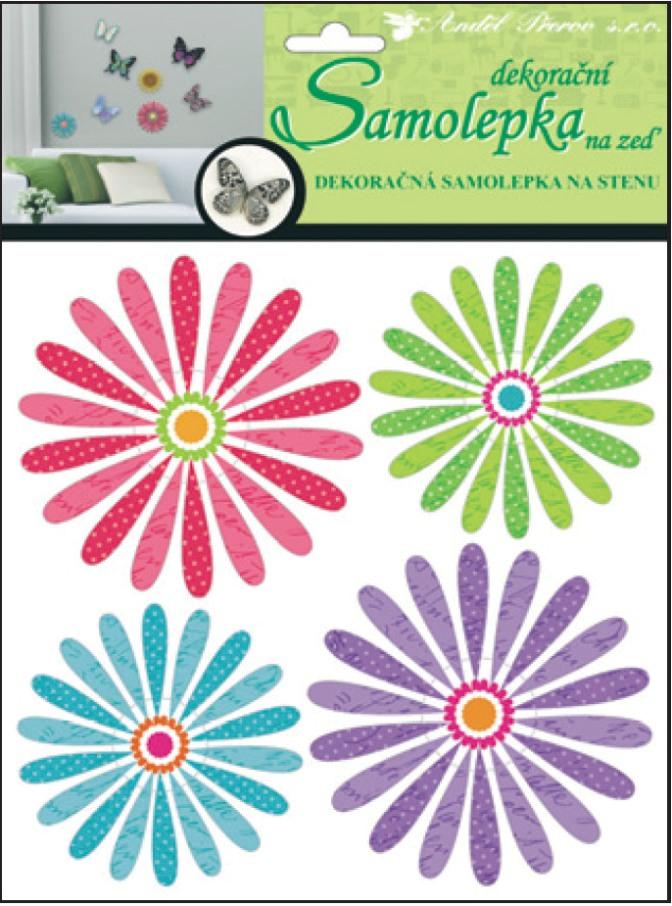Samolepky na stěnu 3D barevné květiny 20x20x1cm, 4ks