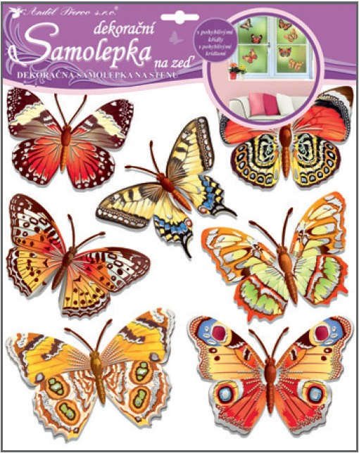 Samolepky na stěnu motýli skuteční 30,5x30,5 cm