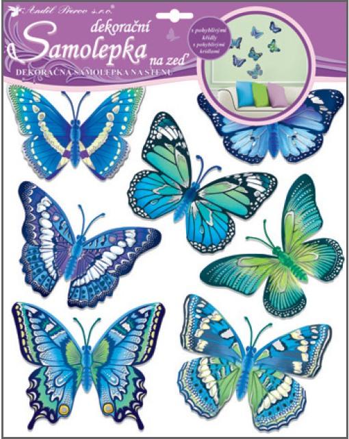 Samolepky na stěnu motýli modří 30,5x30,5 cm