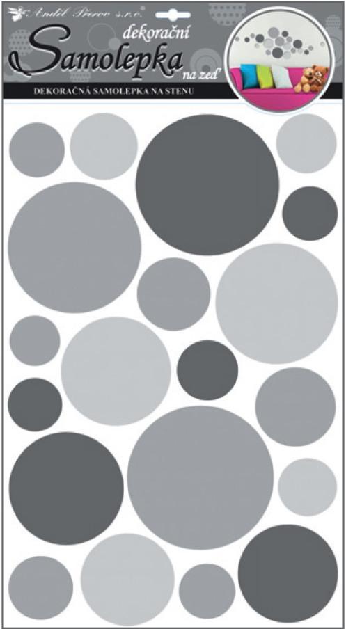 Samolepky na stěnu kolečka šedá 50x32 cm