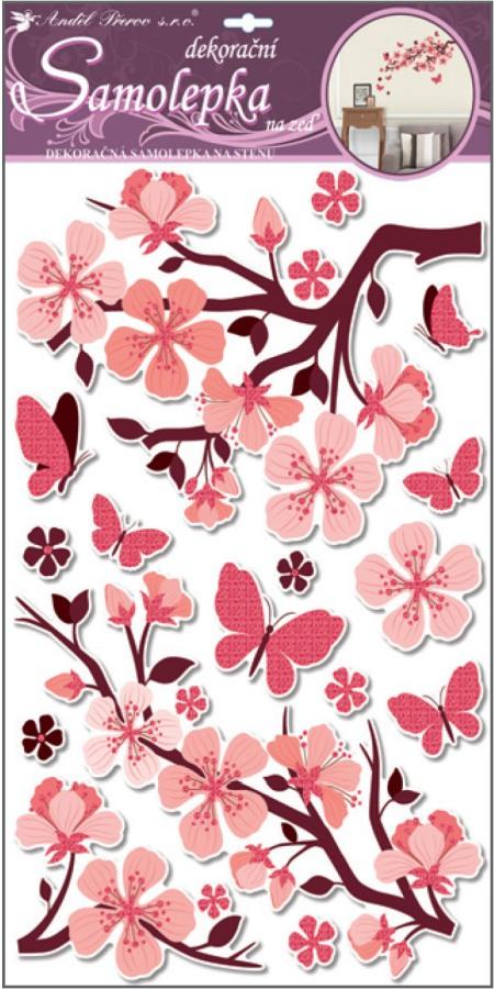 Samolepky na stěnu s glitrem, 50x32 cm, růžová větev