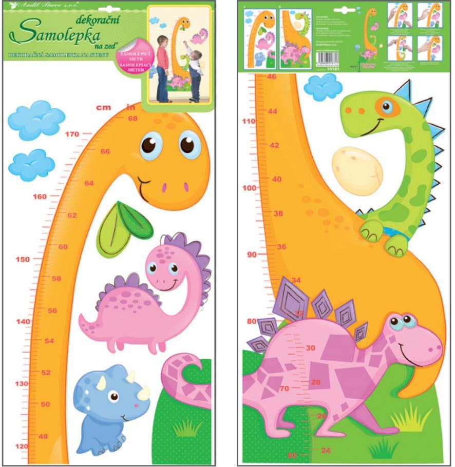 Samolepka na stěnu dětský metr dinosaurus 120 x 32 cm