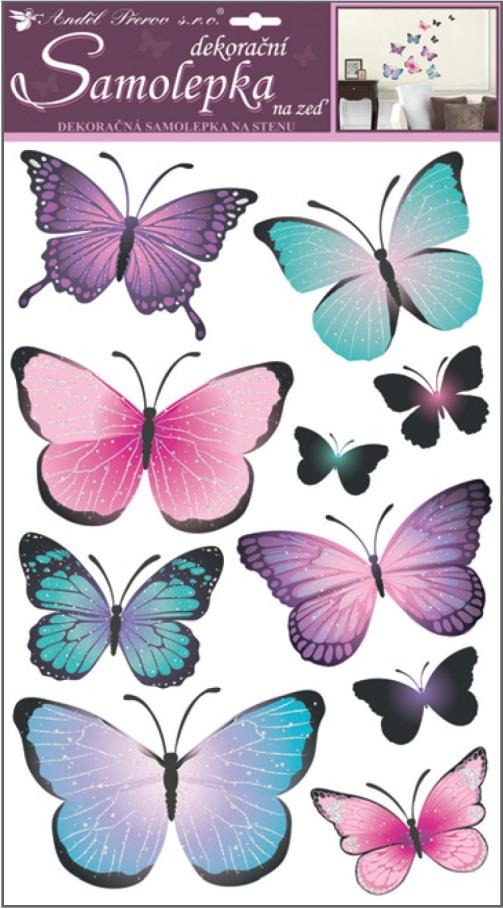 Samolepky na stěnu motýli modrofialoví 50 x 32 cm (10185)