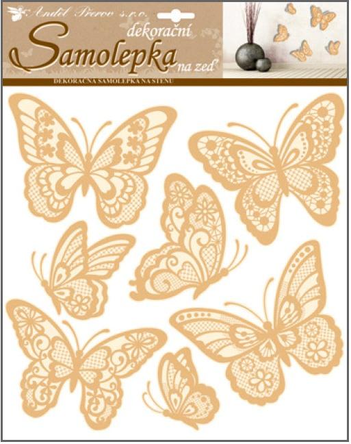 Samolepky na stěnu motýli s prostorovými křídly zlatí 30,5 x 30,5 cm