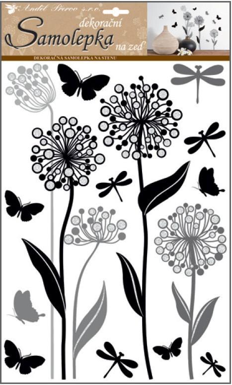 Samolepky na stěnu květiny s glitry 41 x 29 cm