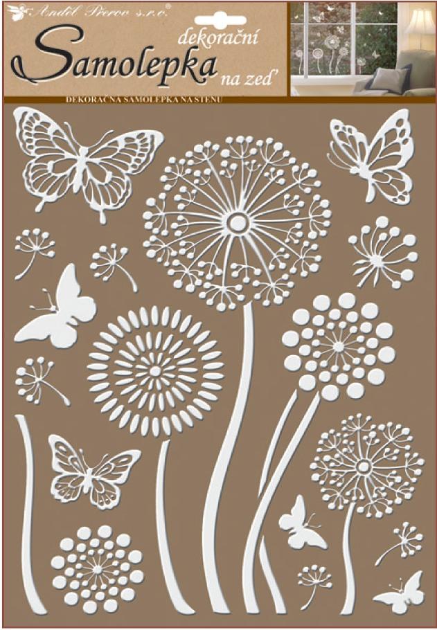 Samolepky na stěnu bílé květiny s glitry 35 x 27,5 cm (10190)