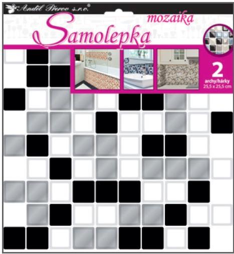Samolepka na stěnu mozaika plastická, imitace obkladů,2 archy 25,5 x 25,5 cm